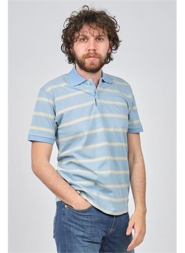 Arslanlı Arslanlı Erkek Çizgili Polo Yaka T-Shirt  Mavi